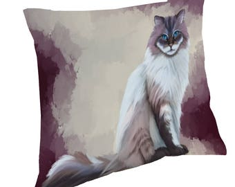 Seal Mitted Lynx Ragdoll Cat Throw Pillow