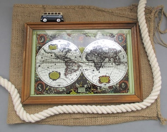 World Map Gift, Vintage World Map, Map Lovers, Vintage Map, Old World Map, Wall Art Display, Mirror Map, Wall Decor, Travel Gift