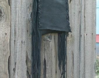 Black leather handbag with fringe ,  Fringed leather phone bag ,  Black crossbody purse
