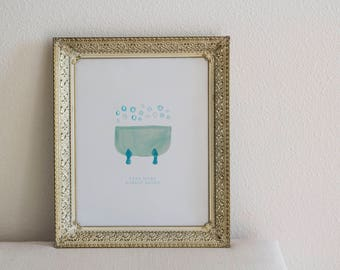 Bubble Baths, Art Print, Bathroom Art Print, Bathroom Wall Decor, Powder Room Art, Bathroom Decor, Bathroom Art, Bubble Bath Print, Under 10