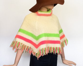 60s Crochet Cape  1960s Knit Mod Top Wool Shirt Shawl 1970s Sweater Poncho 70s Hippie Fringe Jacket Groovy Festival Extra Small - Medium