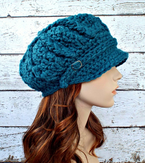 Crochet Hat Womens Hat Newsboy Hat - Spring Monarch Ribbed Crochet Newsboy Hat in Peacock Blue - Womens Accessories