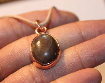 black moonstone pendant with recycled copper - pendant necklace handmade