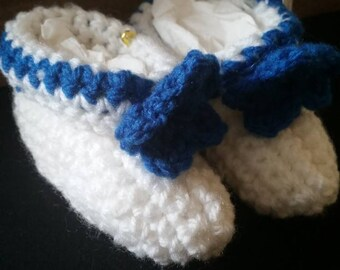 White Booties with Blue flower