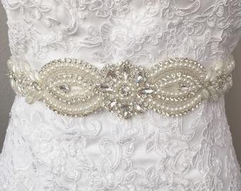 Crystal Rhinestone Bridal Belt on Satin Sash - Thick Bridal Belt -Pearl Bridal Belt - Rhinestone Belt - Bridal Sash -Pearl Wedding Belt b057