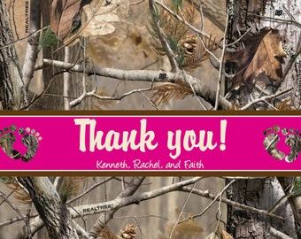 Camo thank you cards - thank you cards - baby shower thank you cards - girl camo thank you cards - pink baby shower thank you card