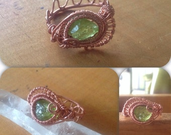 Peridot Ring Copper Ring Wire Wrap Ring Unique Wire Wrap One of a Kind