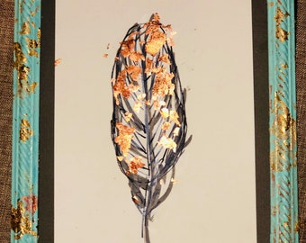 Framed feather drawing / framed art / original drawing / copper highlights.