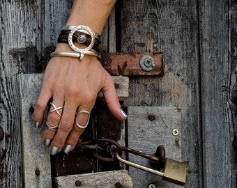 Leather Jewelry, Statement Jewelry, Statement Bracelet, Unique Jewelry, Handmade Jewelry, Handmade Bracelet, Strong Jewelry, BR-173