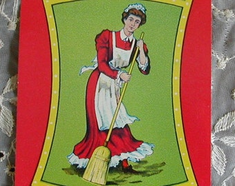 1920's Art Deco Little Miss Brand Advertising Broom Label Paper Maid Sweeping