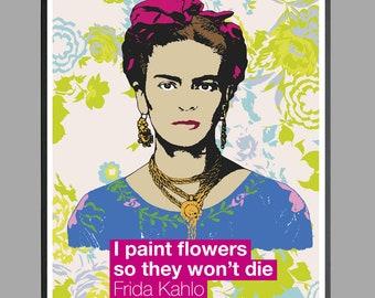 Frida Kahlo portrait, Frida Kahlo de Rivera, Mexican artist, Flowers, Thanks Pette88