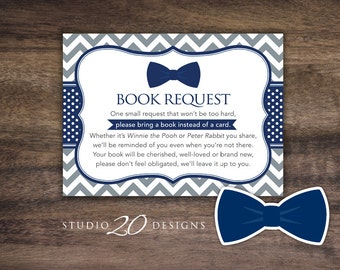 Instant Download Bow Tie Book Request, Blue Grey Little Man Book in Lieu of Card, Navy Grey Bowtie Baby Shower Games, One Small Request 79E