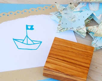 Paper Boat and Heart  Olive Wood Stamp