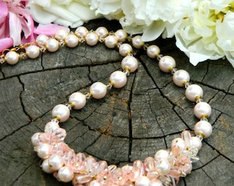 Mother's day gift for Grandma Statement necklace Mom gift Pink Pearl necklace Mothers day jewelry Birthday Gift Inspirational womens gift