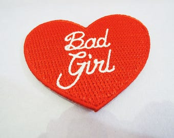 Bad Girl Letter Patches - Iron on or Sewing on Patch Letter Patches Red White Patch Embellishments Embroidery fonts Word Large Patch