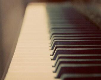 Piano Photograph black and white vintage style dark keys ivory ebony music instrument keyboard
