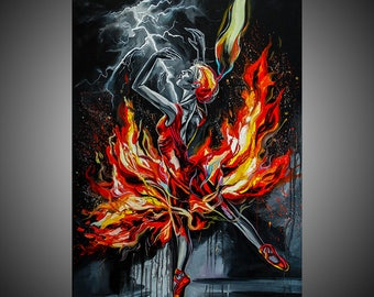 Fire oil painting, Ballerina painting, Ballet painting, Ballerina art, Ballet art, Fine art painting, Woman art, Woman painting