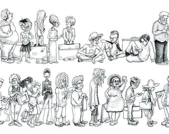 "Millennials - print of pen & ink illustration (13"" x 8.25"")"