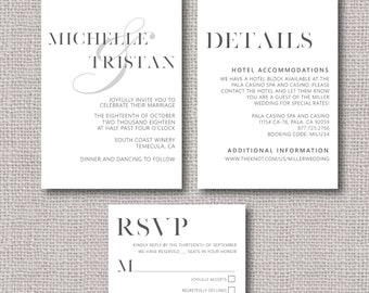 Modern Wedding Invitation Template - Digital and Printable Wedding Invitation - Simple and classic wedding