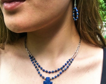 Blue Lapis Arrowhead Necklace and Earring Set