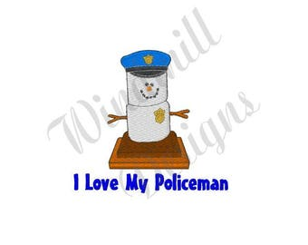 I Love My Policeman Smore - Machine Embroidery Design