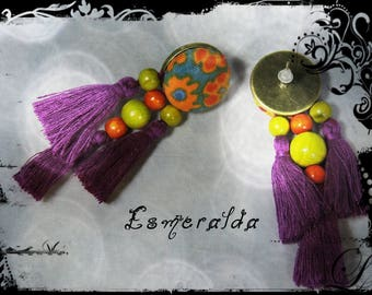 SOLD - Earrings - ESMERALDA - metal, fabric multicolored predominantly orange and Ochre yellow and purple silk tassels