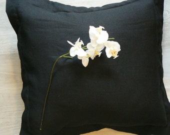 Black linen decorative pillow cover, linen cushion cover with Oxford flange, Eco linen fabric, 16x16, 18x18, 20x20, 22x22, 26x26 Euro pillow