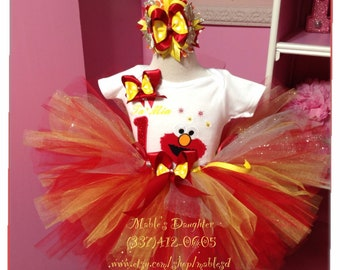 Elmo Tutu Set / Elmo Tutu / Elmo Birthday/ Elmo Birthday shirt /Elmo first Birthday
