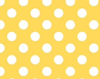 Riley Blake Medium Dot, White on Yellow, fabric by the yard