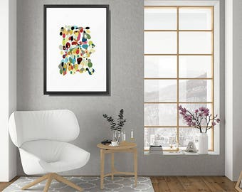 Retro Wall Art, Framed Art, Abstract Art Print, Gallery Wall, Modern Art Print, Retro Print, Retro Art Print, Framed Art Print