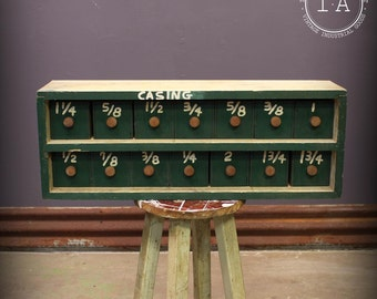 Vintage Industrial Handmade 14 Drawer Small Parts Cabinet Storage Green Wooden
