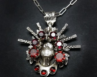 Vinok - Rhodolite and Spessartite Garnet Pendant