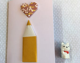 Origami greeting card - pencil and heart (brown)