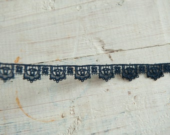Navy Blue Floral Applique - 3 yards Vintage Fabric Embroidered Trim Lace 60s 70s New Old Stock