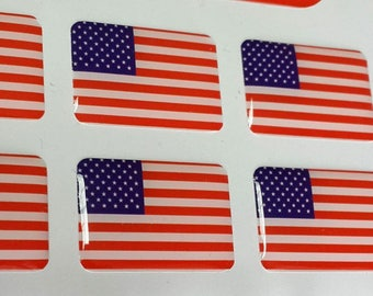 4 US USA flag emblem domed decals for vehicle bike laptop etc