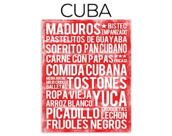 Cuban Food Poster - Red - Word Art - Food Art Print