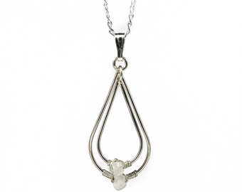 Teardrop Necklace with White Raw Rough Diamond - Sterling Silver - Conflict Free Natural Diamonds