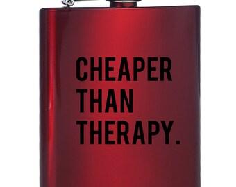 Moins cher que la thérapie en acier inoxydable flacon - ballon rouge - courses - 8 Oz - création graphique - cadeau de Noël - cadeau de partie de Bachelorette