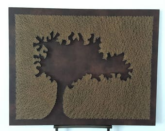 Autumn tree style brown leather