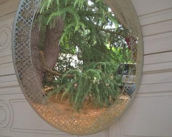 Mirror With Lattice Trim, Gold Leaves