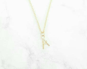 Tiny Gold Wire Initial Necklace, custom Initial Necklace, Initial Jewelry, Personalized gift for her