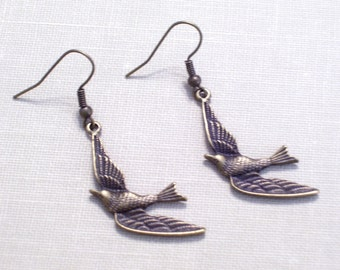 Antiqued Brass Soaring Swallow Earrings, Bronze Flying Birds, Bird Earrings, Bird Jewelry, Brass Bird