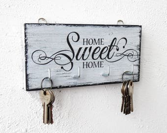 Home Sweet Home key hanger wall white wood key holder for wall shabby wood cottage chic housewarming gift key hook black and white organizer