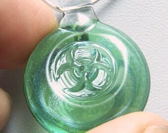 Green shimmer 3D biohazard pendant - handmade glass lampwork pendant