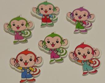 6 Monkey Buttons - #SB-00314
