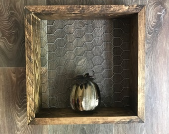 Wood Shelf with Chicken Wire