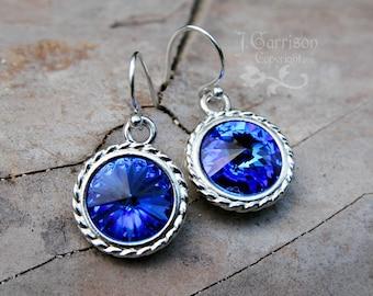 Sapphire Swarovski Crystal Earrings - Deep blue rivoli crystal, sterling silver earwires - free shipping in USA