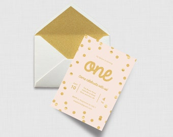 "Gold Glitter Confetti and Blush First Birthday 5"" x 7"" Invitation - Digital or Printed"