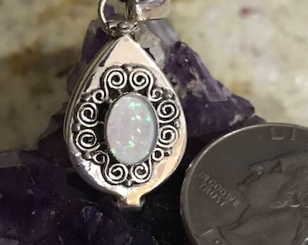 Opal Poison Box Pendant Necklace