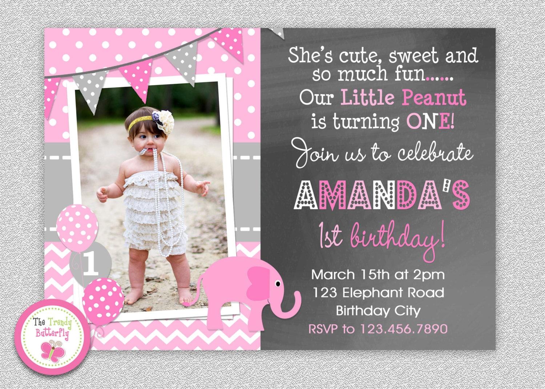 Elephant Chalkboard Birthday Invitation 1st Birthday